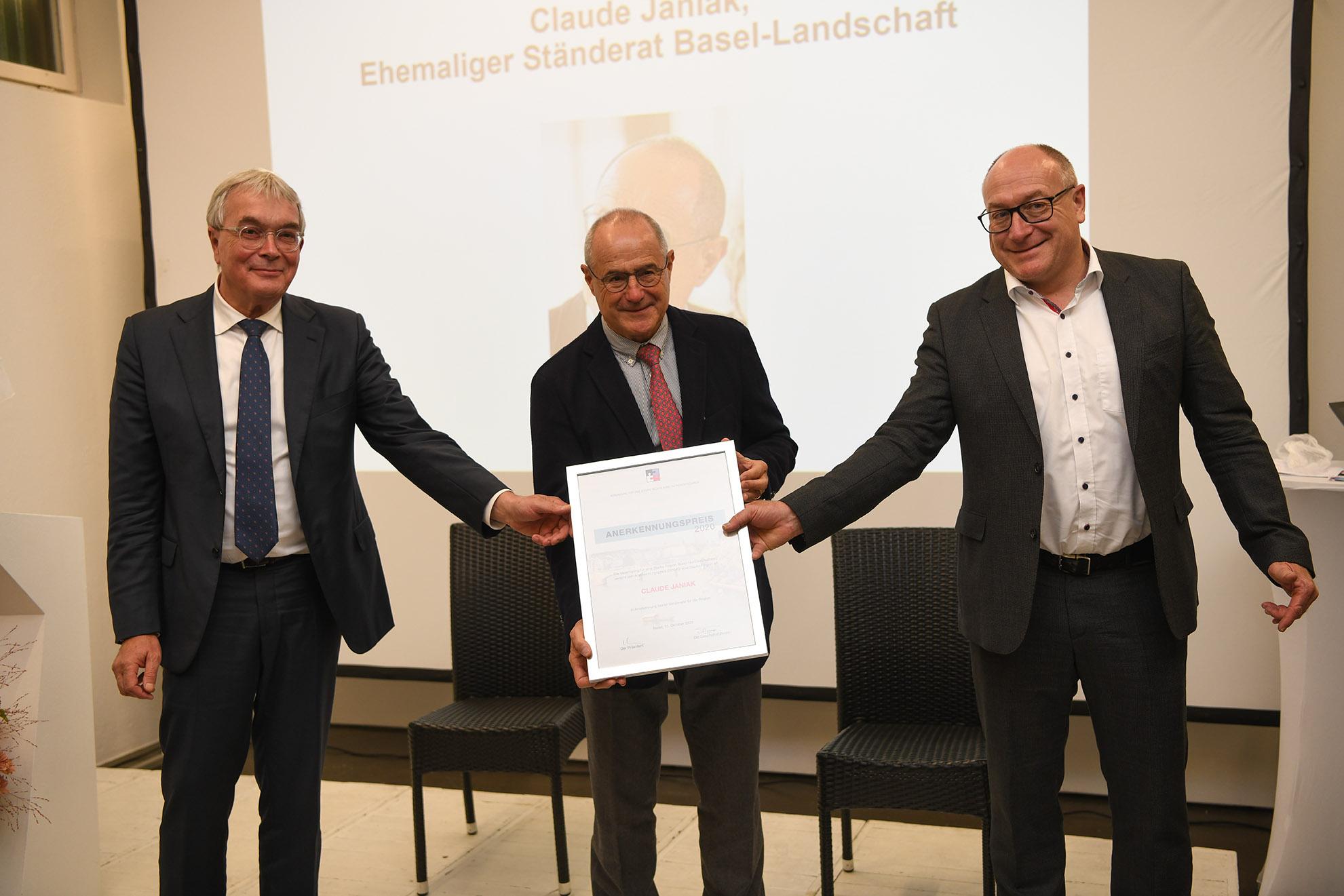 Anerkennungspreis für eine Starke Region 2020 an Claude Janiak