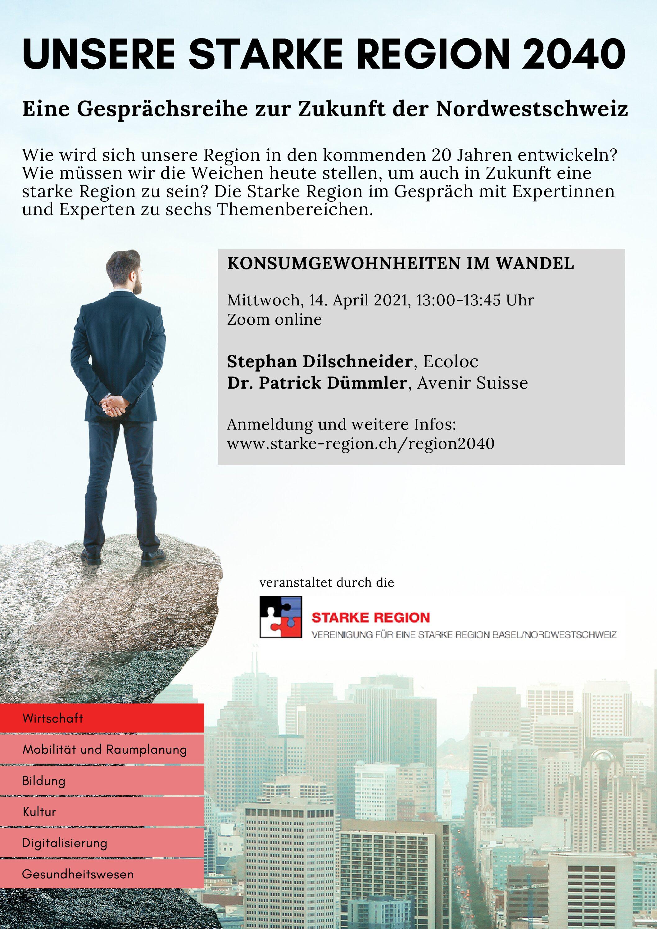Gesprächsreihe zur Zukunft der Nordwestschweiz «Unsere starke Region 2040»